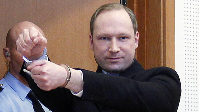 FILE -  This is a  Monday, Feb. 6, 2012 file photo of Anders Behring Breivik, a right-wing extremist who confessed to a bombing and mass shooting that killed 77 people on July 22, 2011, as arrives for a detention hearing at a court in Oslo, Norway.  Norwegian prosecutors on Wednesday March 7, 2012  indicted Anders Behring Breivik on terror and murder charges for slaying 77 people in a bomb and shooting rampage but said the confessed mass killer likely won't go to prison for the country's worst peacetime massacre. Prosecutors said they consider the 33-year-old right-wing extremist psychotic and will seek a sentence of involuntary commitment to psychiatric care instead of imprisonment unless new information about his mental health emerges during the trial set to start in April. (AP Photo/Heiko Junge, Scanpix Norway, File) NORWAY OUT