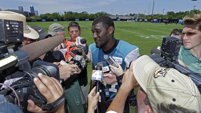 Jacksonville Jaguars wide receiver Justin Blackmon speaks with reporters after NFL football organized team activities, Monday, May 13, 2013, in Jacksonville, Fla. (AP Photo/John Raoux)