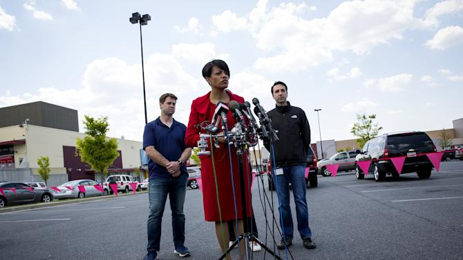 Baltimore Mayor Stephanie Rawlings-Blake speaks at a news conference outside the Mondawmin Mall in Baltimore, Maryland