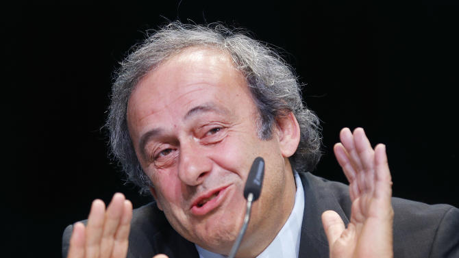 President of UEFA Michael Platini speaks during a press conference following a meeting of the UEFA board ahead of the FIFA congress in a hotel in Zurich, Switzerland, Thursday, May 28, 2015. The FIFA congress with the president's election is scheduled for Friday, May 29, 2015 in Zurich. (AP Photo/Michael Probst)