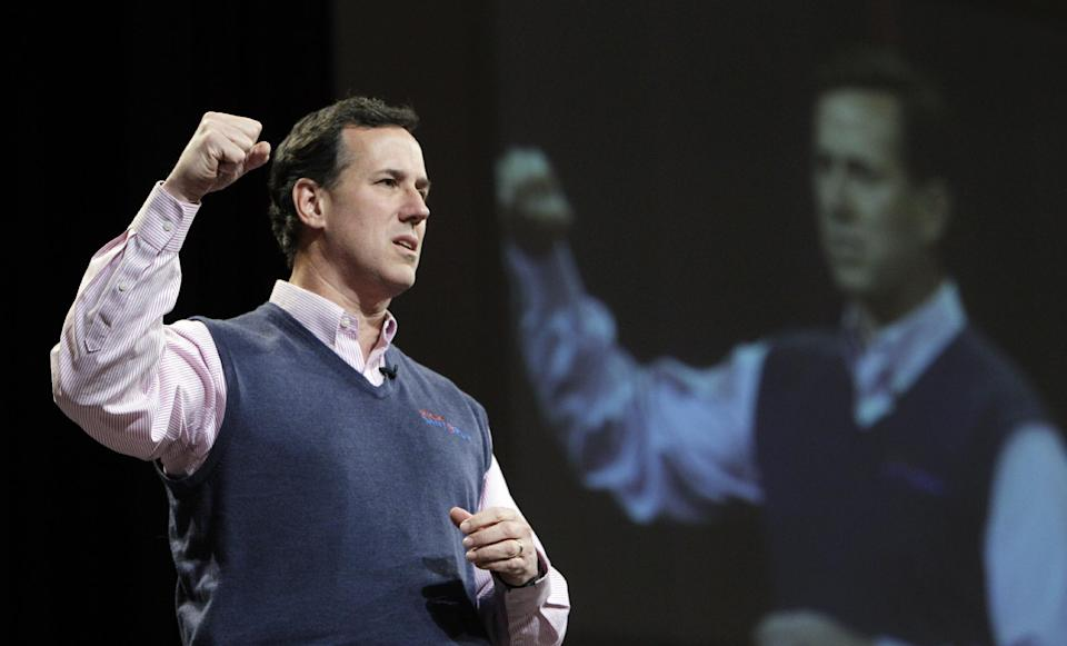 Republican presidential candidate, former Pennsylvania Sen. Rick Santorum speaks during a campaign stop at the Christ Redeemer Church, Sunday, Feb. 19, 2012, in Cumming, Ga. (AP Photo/Eric Gay)
