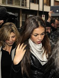 "Karima El-Mahroug -- aka ""Ruby the Heart Stealer"" -- arrives to testify at a Milan court on January 14, 2013. The verdict in former Italian prime minister Silvio Berlusconi's trial for underage sex will not come before the February general elections, a court has said"