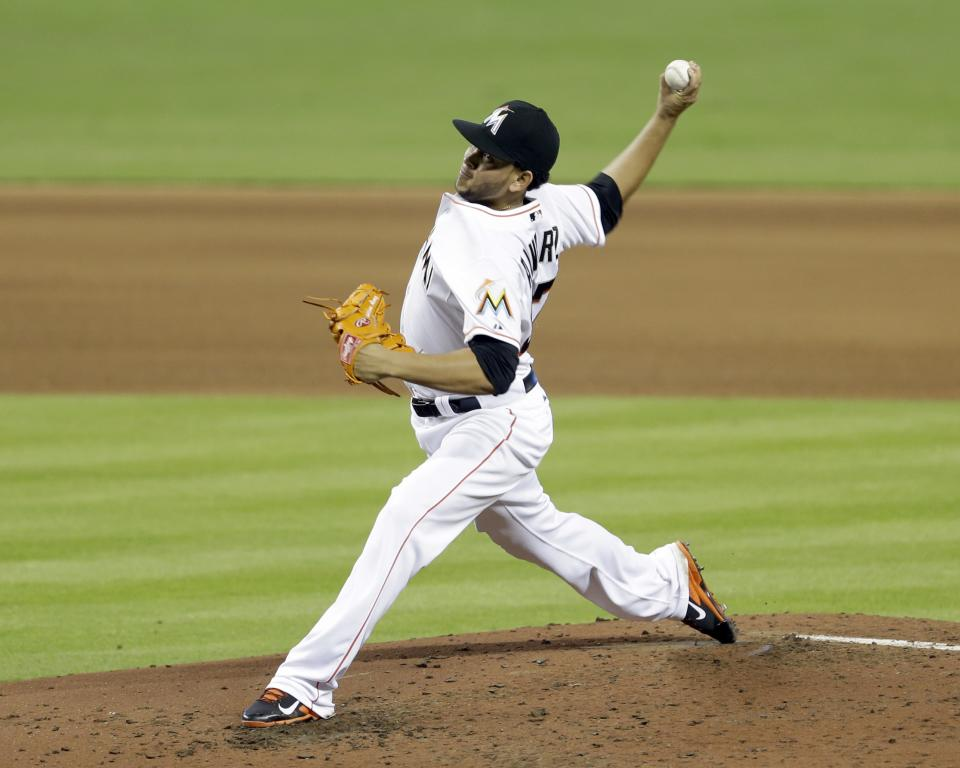 Miami Marlins' Henderson Alvarez pitches against the Detroit Tigers in the fifth inning of an interleague baseball game on Sunday, Sept. 29, 2013, in Miami. Alvarez pitched a no-hitter as the Marlins won 1-0. (AP Photo/Alan Diaz)