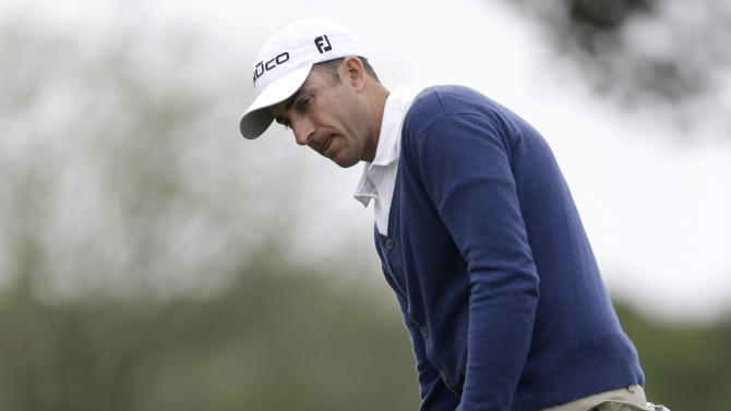Geoff Ogilvy, of Australia, reacts to a missed putt on the 16th hole during the second round of the Honda Classic golf tournament, Friday, March 1, 2013, in Palm Beach Gardens, Fla. (AP Photo/Wilfredo Lee)