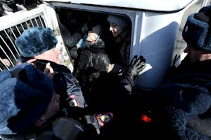 Russian anti-fascist activists are arrested by policemen…