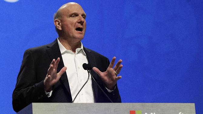 Microsoft Corp. CEO Steve Ballmer speaks during Microsoft's annual meeting of shareholders, Wednesday, Nov. 28, 2012, in Bellevue, Wash. (AP Photo/Ted S. Warren)