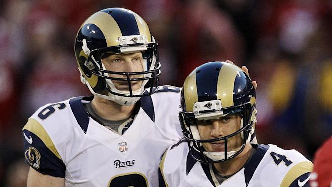 St. Louis Rams kicker Greg Zuerlein (4) reacts after missing a 58-yard field goal with Johnny Hekker (6) during overtime of an NFL football game against the San Francisco 49ers in San Francisco, Sunday, Nov. 11, 2012. (AP Photo/Jeff Chiu)