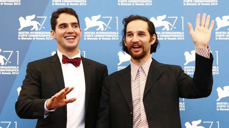 "Directors Josh and Benny Safdie pose during the photo call for the movie ""Heaven Knows What"" at the 71st Venice Film Festival"