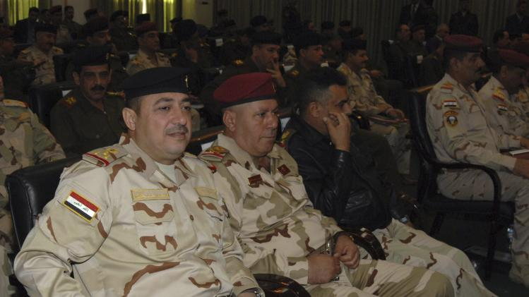 Commander of the army's Seventh Division Maj. Gen Kurwi attends a conference at the Ministry of Defence in Baghdad