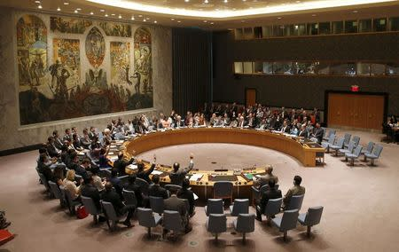 The United Nations Security Council unanimously votes on a resolution authorizing humanitarian aid access into rebel-held areas of Syria, during a United Nations Security Council meeting at U.N. headquarters in New York