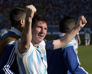 Argentina's Lionel Messi celebrates after Angel di Maria's game-winner. (AP)