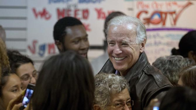 Vice President Joe Biden meets with volunteers at a campaign field office for President Barack Obama, Friday, Nov. 2, 2012, in Aurora, Co. (AP Photo/Matt Rourke)