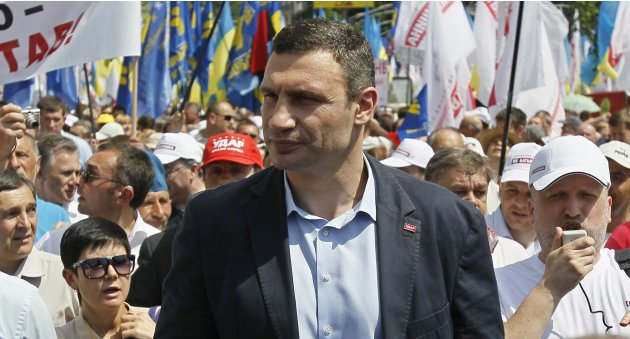 UDAR party leader Klitschko takes part in a rally in Kiev