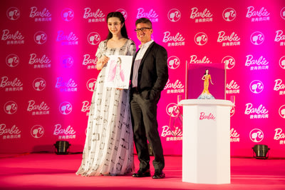 Chinese Celebrity Fan Bingbing with Robert Best, Chief Designer for Barbie Special Line to Celebrity the Launch of Her Own Celebrity Doll in Shanghai