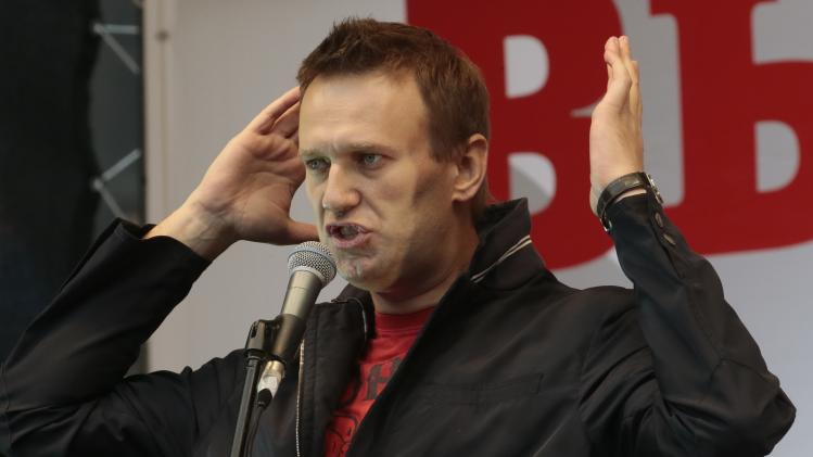 Opposition leader Alexei Navalny speaks at a protest rally in Moscow, Saturday, Sept. 15, 2012. Thousands of protesters marched across downtown Moscow on Saturday in the first major rally in three months against President Vladimir Putin, while defying the Kremlin's ongoing efforts to crackdown on opposition. (AP Photo/Mikhail Metzel)