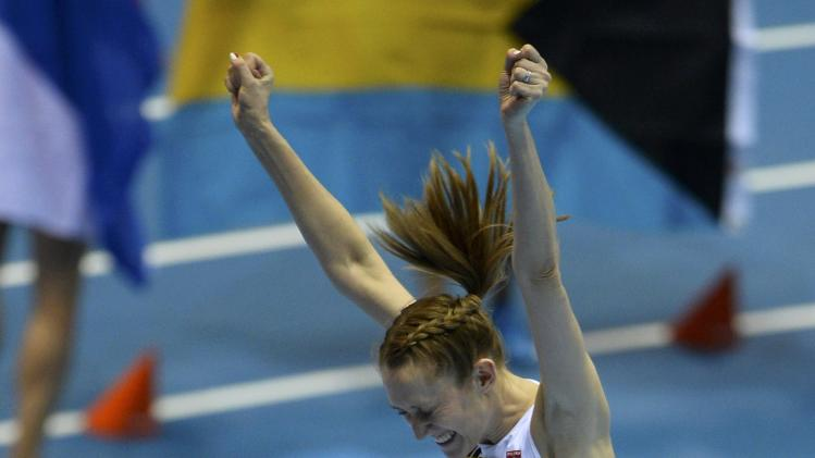 Poland's Licwinko reacts during the women's high jump final at world indoor athletics championships in Sopot