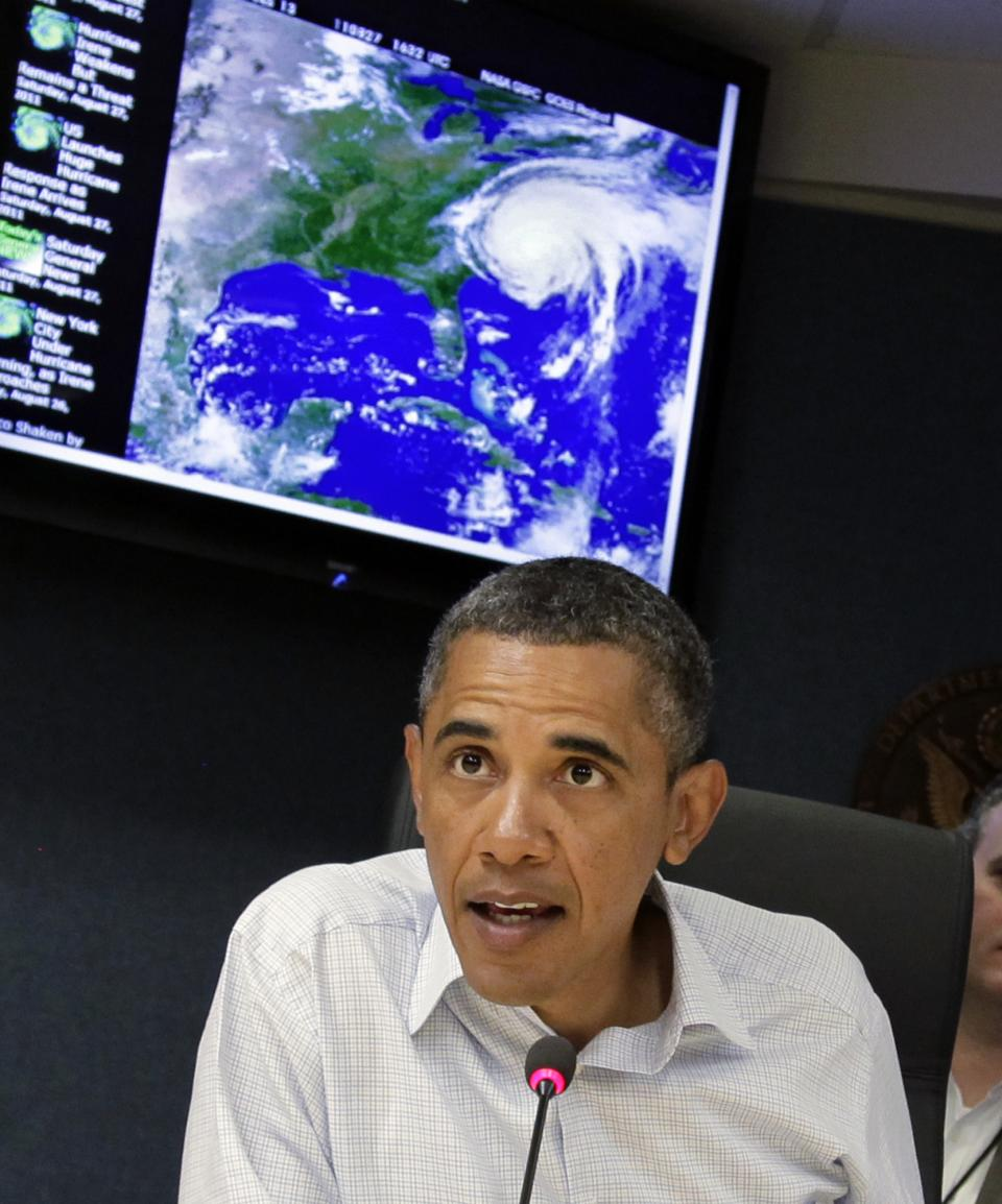 President Barack Obama speaks during an update on the status of Hurricane Irene at Federal Emergency Management Agency (FEMA) headquarters in Washington, Saturday, Aug. 27, 2011.  (AP Photo/J. Scott Applewhite)