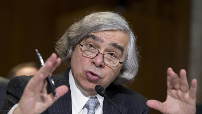 """FILE – In this April 9, 2013 file photo, Energy Secretary nominee Ernest Moniz, of Massachusetts, testifies before a Senate Energy and Natural Resources committee on his nomination on Capitol Hill in Washington. During the hearing, Moniz hailed a """"stunning increase"""" in natural gas production as nothing less than a """"revolution"""" that has led to reduced emissions of carbon dioxide and other gases that cause global warming. (AP Photo/Manuel Balce Ceneta, File)"""