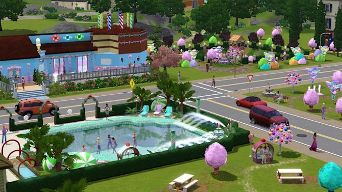 A view of the Katy Perry-style Candyfornia in 'The Sims 3'
