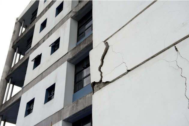 A wall at the University of Costa Rica's school of electrical engineering is damaged after an earthquake in San Jose, Costa Rica, Wednesday, Sept. 5, 2012. A powerful, magnitude-7.6 earthquake sho