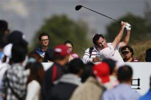 Fernandez-Castano of Spain tees off on the 7th hole during the BMW Masters 2013 golf tournament in Shanghai