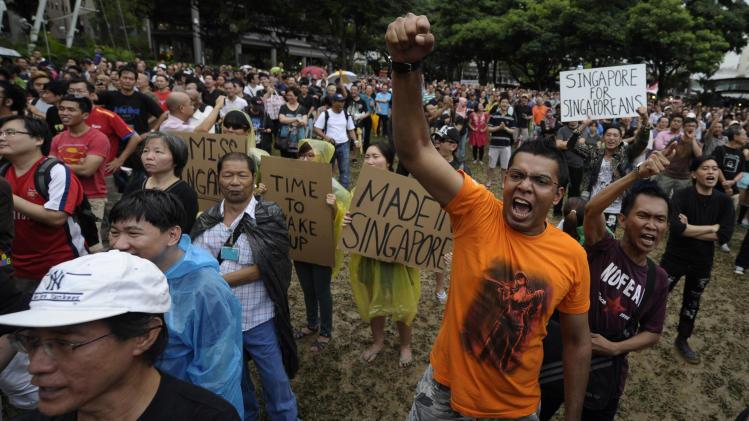 Rare Singapore protest against population plan