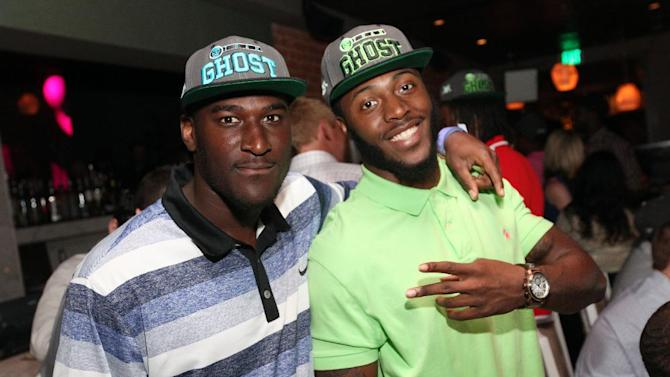 NFL Rookies Justin Blackmon, left, and Bernard Pierce attend a preview of Ubisoft's Ghost Recon: Future Soldier in Los Angeles, Thursday, May 17, 2012.  (Casey Rodgers / AP Images for Ubisoft)
