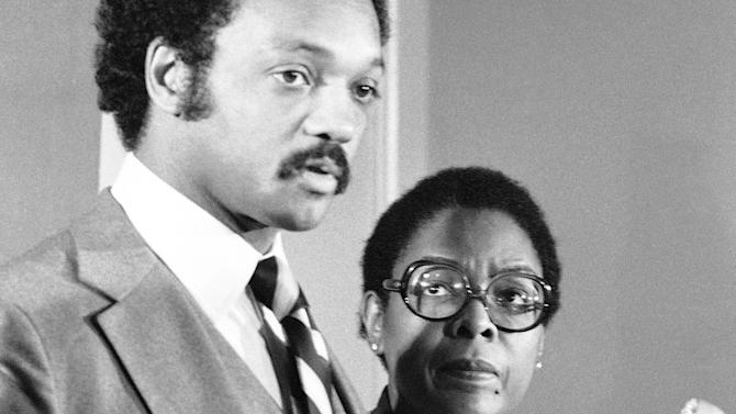 FILE - In this Nov. 12, 1980 file photo former Congresswoman Cardiss Collins, right, appears at a news conference with the Rev. Jesse Jackson in Washington. Collins, the first African-American woman to represent Illinois in Congress, died Sunday, Feb. 3, 2013 of complications from pneumonia at a Virginia hospital, a family friend announced on Tuesday, Feb. 5.  (AP Photo/John Duricka)