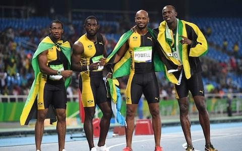 "<span>Jamaica's Yohan Blake, Jamaica's Nickel Ashmeade, Jamaica's <a class=""yom-entity-link yom-entity-sports_player"" href=""/olympics/rio-2016/a/1057256/"">Asafa Powell</a> and Jamaica's Usain Bolt celebrate after they won the Men's 4x100m Relay Final last summer</span> <span>Credit: AFP/Getty Images </span>"