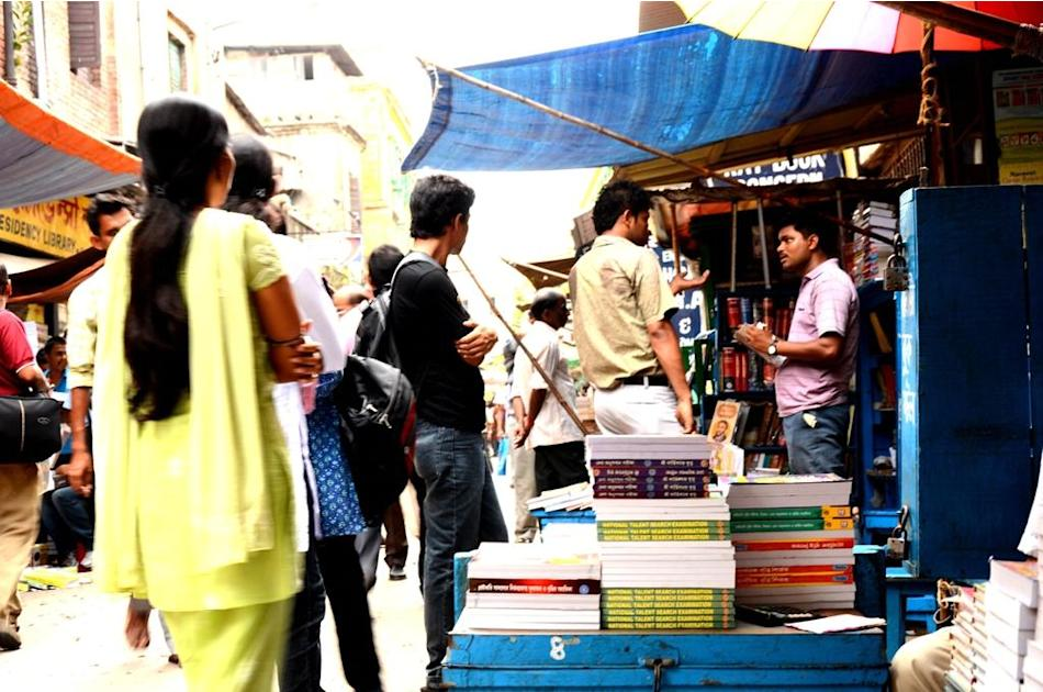 Students buy books on College Street, Kolkata