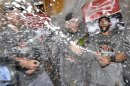 San Francisco Giants&#039; Pagan And Scutaro Spray Champagne As They Celebrate Defeating The Detroit Tigers In Game 4 To Win The MLB World Series Baseball Championship In Detroit