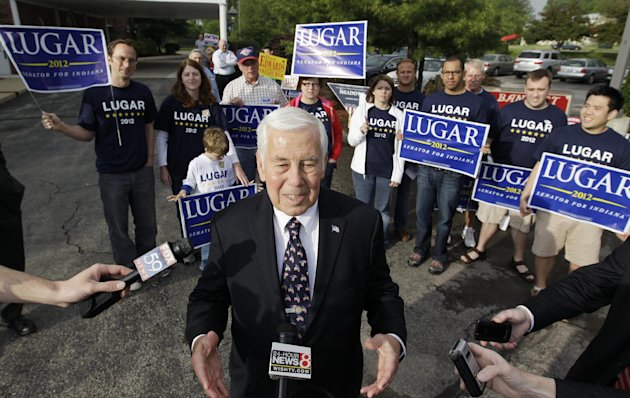 Sen. Richard Lugar responds to a question outside of a voting location Tuesday, May 8, 2012, in Greenwood, Ind. Lugar is being challenged by two-term state Treasurer Richard Mourdock. (AP Photo/Darron