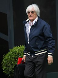 Formula One president and CEO of Formula One Management Bernie Ecclestone during practice at the Circuit de Catalunya, Barcelona.
