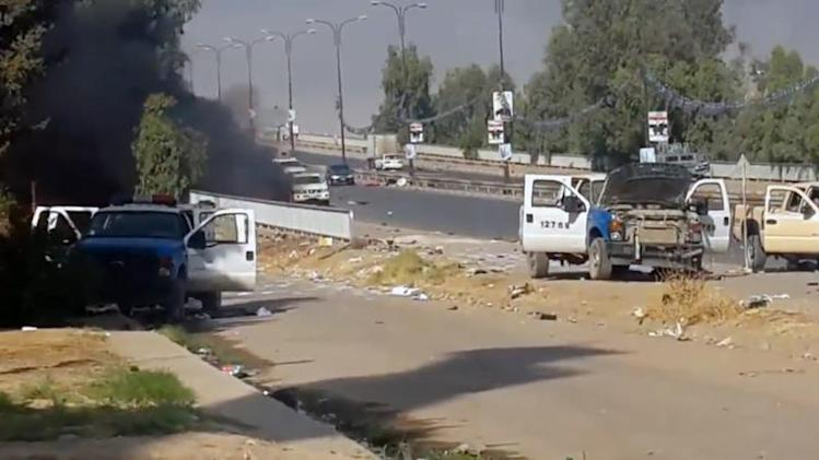 An image from a video uploaded on Youtube on June 11, 2014 is said to show damaged Iraqi forces vehicles in Mosul following fighting with Islamic State of Iraq and the Levant militants