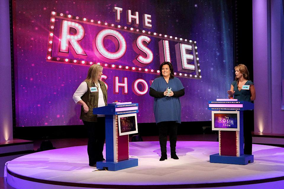 "Rosie O'Donnell on the set of ""The Rosie Show"" during a show game."