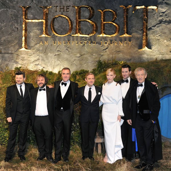 The cast of The Hobbit at the London premiere, Dec 2012 © Rex
