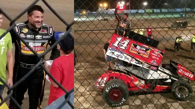 Tony Stewart earns win, third in sprint car return