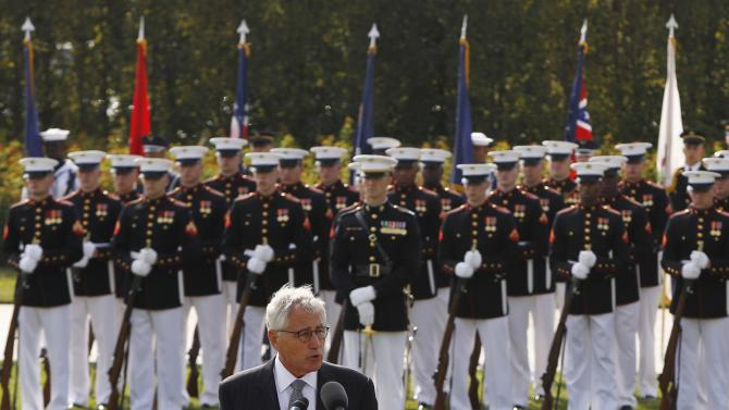 U.S. Secretary of Defense Chuck Hagel delivers remarks at ceremonies marking the 2014 National POW/MIA Recognition Day at the Pentagon in Washington