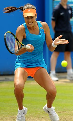 Serbia's Ana Ivanovic plays a shot to China's Shuai Zhang during their semifinal match at the Aegon Classic tennis tournament at Edgbaston Priory Club, Birmingham, England, Saturday June 14, 2014. (AP Photo/PA, Rui Vieira) UNITED KINGDOM OUT NO SALES NO ARCHIVE
