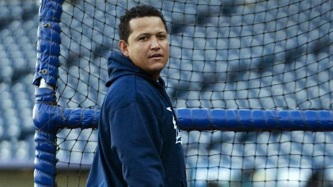 Detroit Tigers' Miguel Cabrera waits his turn during batting practice before a baseball game with the Kansas City Royals at Kauffman Stadium in Kansas City, Mo., Wednesday, Oct. 3, 2012. (AP Photo/Orlin Wagner)