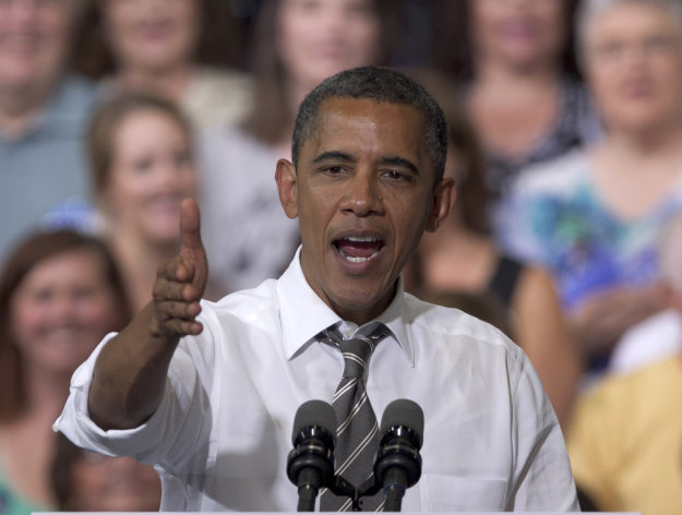 President Barack Obama speaks during a grassroots campaign event at Kirkwood Community College in Cedar Rapids, Iowa, Tuesday, July 10, 2012. (AP Photo/Nati Harnik)