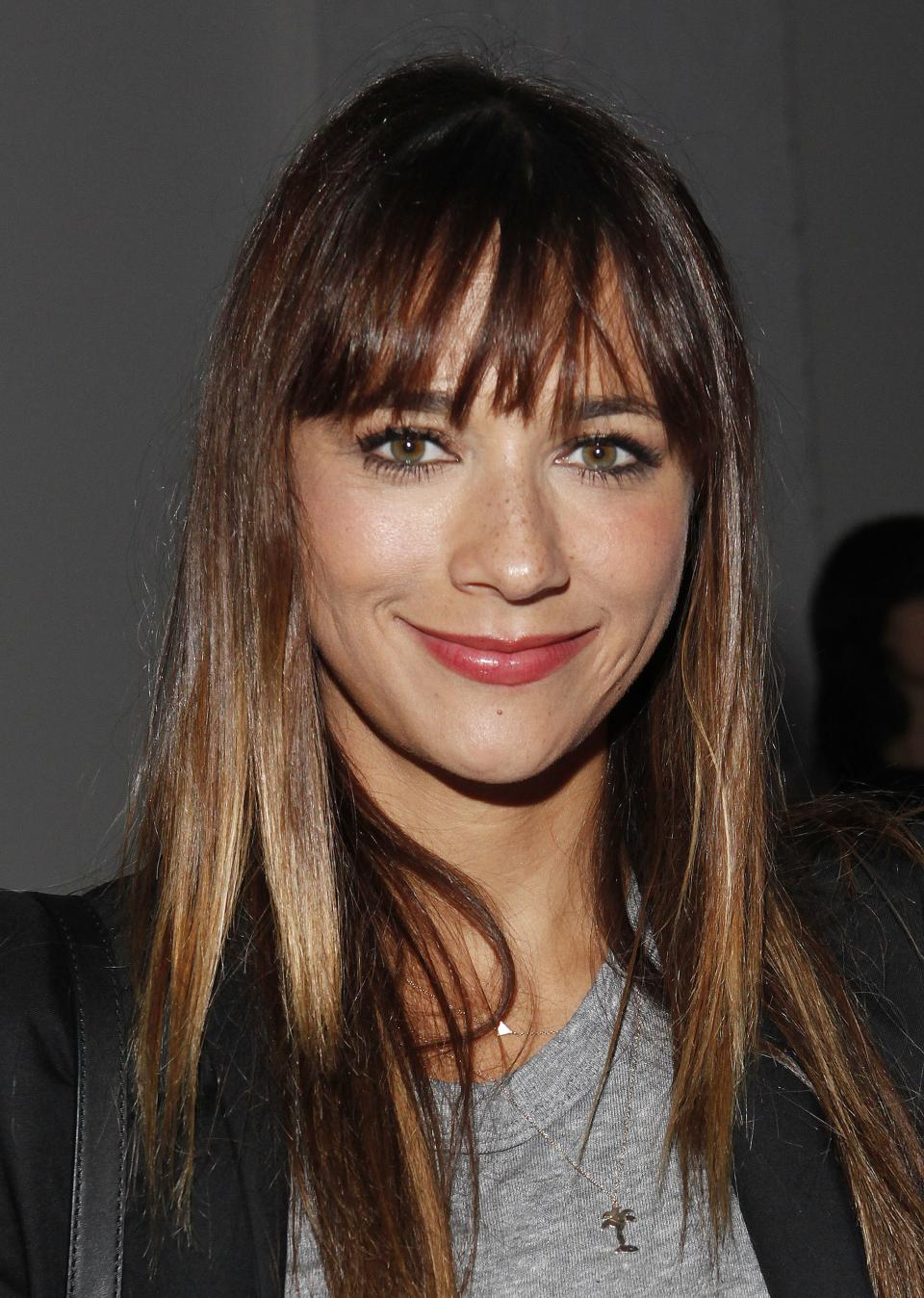 Rashida Jones attends the Rodarte collection on Tuesday, Sept. 10, 2012, during Mercedes-Benz Fashion Week in New York. (Photo by Amy Sussman/Invision/AP)