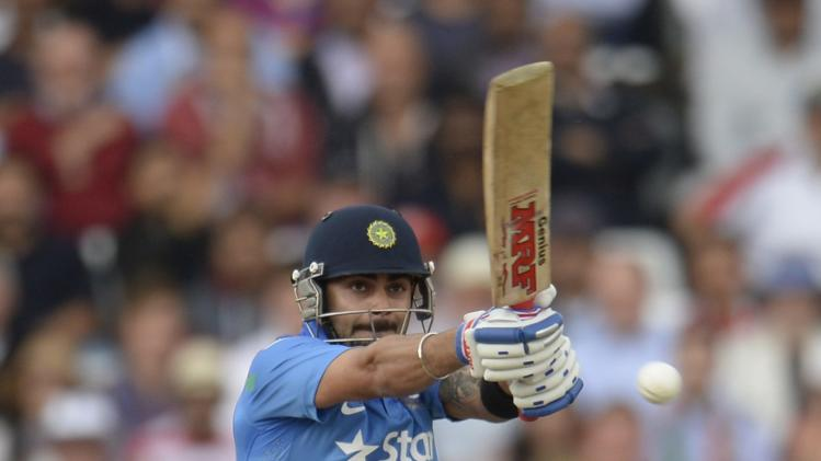 India's Kohli hits out during the third one-day international cricket match against England at Trent Bridge cricket ground in Nottingham