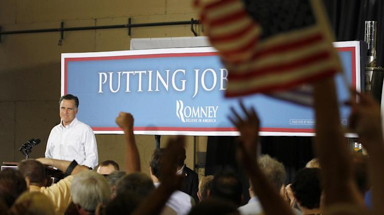 Republican presidential candidate, former Massachusetts Gov. Mitt Romney campaigns at McCandless Trucking in North Las Vegas, Nev., Friday, Aug. 3, 2012. (AP Photo/Charles Dharapak)