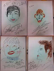 2AM members draw each other's portraits