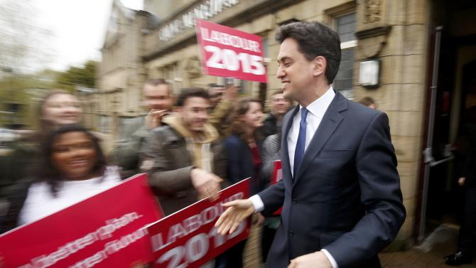 Britain's opposition Labour Party leader Ed Miliband leaves after a campaign event  in Colne, northern England
