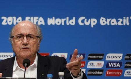 FIFA President Sepp Blatter speaks during a news conference at the Maracana stadium in Rio de Janeiro