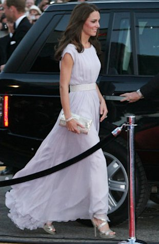 Kate Middleton Wears White Roland Mouret Gown &amp; Jimmy Choo Heels at Claridge's Hotel