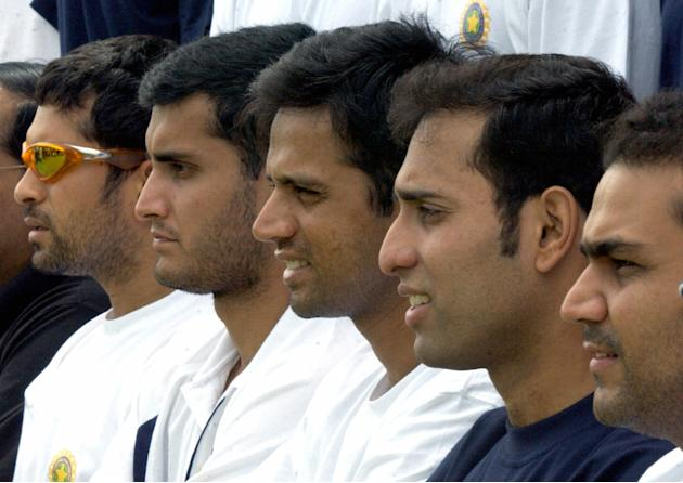 Indian cricketers (L to R) Sachin Tendul