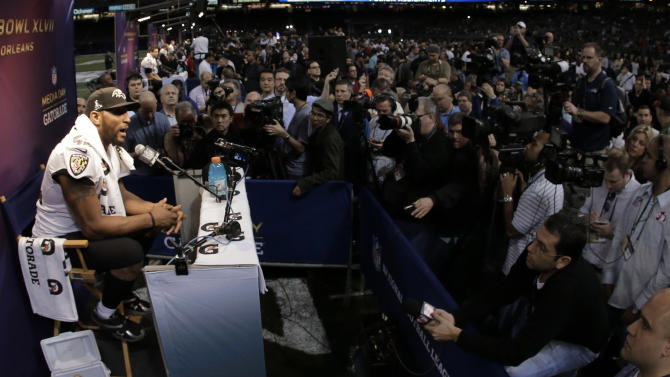 Baltimore Ravens linebacker Ray Lewis speaks during media day for the NFL Super Bowl XLVII football game Tuesday, Jan. 29, 2013, in New Orleans. (AP Photo/Charlie Riedel)
